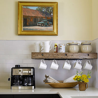 Space saver in the kitchen hanging mugs livesimplybyannie for Kitchen space savers
